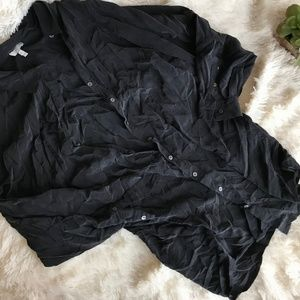 Joie Small Black Silk Long Button Up Shirt